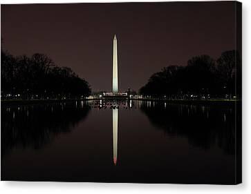 Washington Monument Reflections At Night Canvas Print