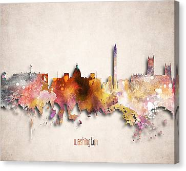 Washington Painted City Skyline Canvas Print by World Art Prints And Designs