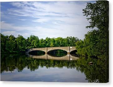 Washington Road Bridge Over Lake Carnegie Princeton Canvas Print by Bill Cannon