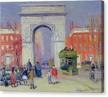 School Bus Canvas Print - Washington Square Park, C.1908 by William James Glackens