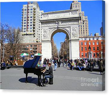 Washington Square Pianist Canvas Print by Ed Weidman