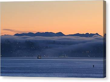 Canvas Print featuring the photograph Washington State Ferries At Dawn by E Faithe Lester
