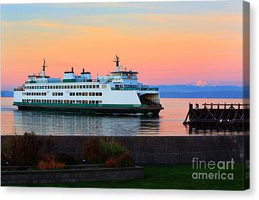 Pacific Northwest Ferry Canvas Print - Washington State Ferry by Inge Johnsson