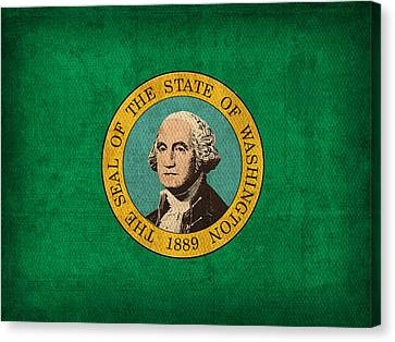 Washington State Flag Art On Worn Canvas Canvas Print by Design Turnpike