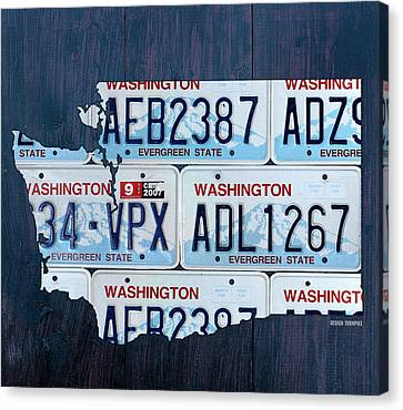 Washington State License Plate Map Art Canvas Print by Design Turnpike