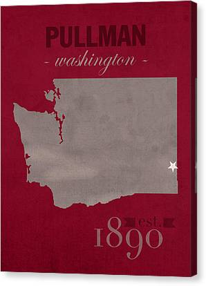 Washington State University Cougars Pullman College Town State Map Poster Series No 123 Canvas Print by Design Turnpike