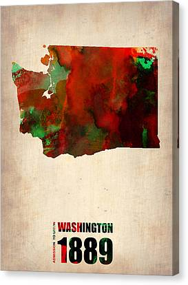 Washington Watercolor Map Canvas Print by Naxart Studio