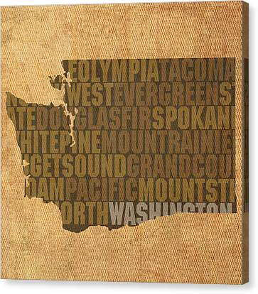 Washington Word Art State Map On Canvas Canvas Print by Design Turnpike