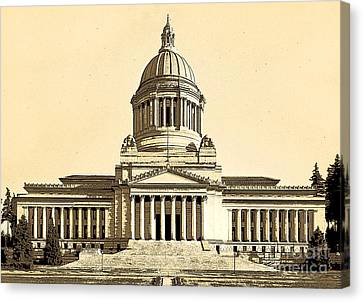 Canvas Print featuring the photograph Washingtons State Capitol Building Sketch In Sepia by Merle Junk