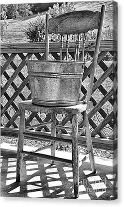Washtub On Antique Chair Canvas Print by Thomas R Fletcher