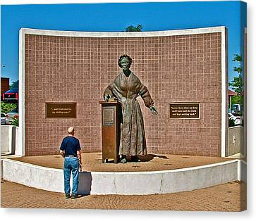 Wasp Learns The Truth From Sojourner Truth In Monument Park In Battle Creek-mi  Canvas Print by Ruth Hager
