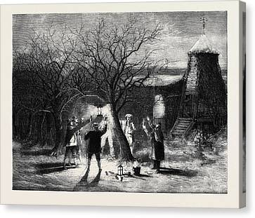 Apple Tree Canvas Print - Wassailing Apple-trees With Hot Cider In Devonshire by English School