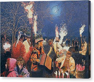 Wassailing In Herefordshire, 1995 Oil On Board Canvas Print by Huw S. Parsons