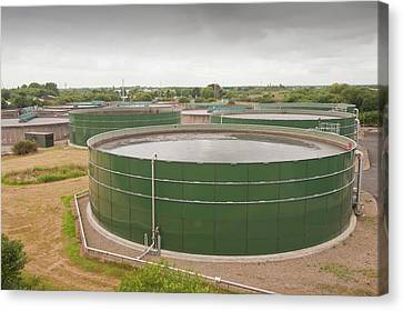 Wastewater Tanks At Sewage Plant Canvas Print by Ashley Cooper