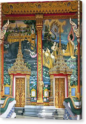Canvas Print featuring the photograph Wat Choeng Thale Ordination Hall Facade Dthp143 by Gerry Gantt