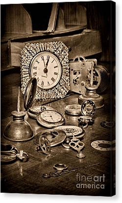 Clockmaker Canvas Print - Watch Repair In Black And White	 by Paul Ward