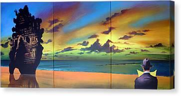 Watcher On The Beach Canvas Print by Geoff Greene