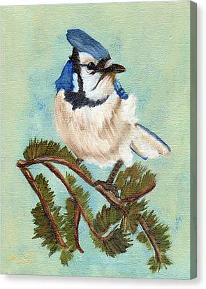 Canvas Print featuring the painting Watchful Blue Jay by J Cheyenne Howell