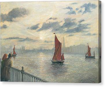 Watching Barges On The Thames River London Canvas Print