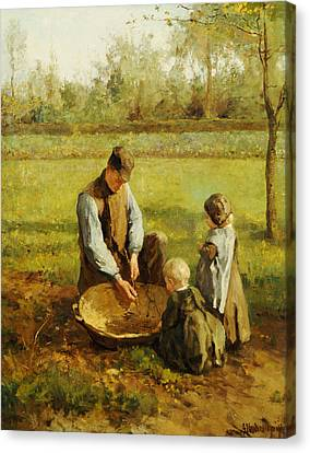 Watching Father Work Canvas Print by Albert Neuhuys
