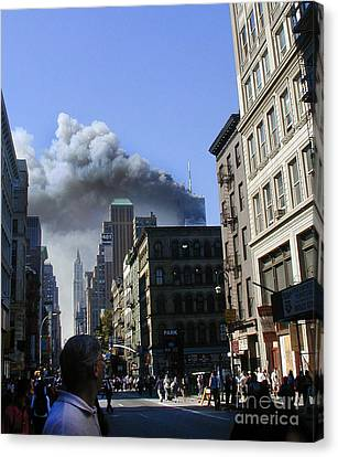 Canvas Print featuring the digital art Watching North Tower Burning by Steven Spak