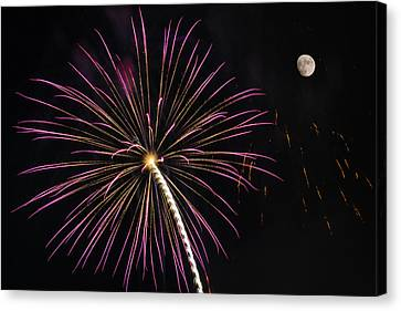 Watching Pink And Gold Explosion - Fireworks And Moon I  Canvas Print by Penny Lisowski
