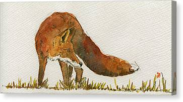 Watching Red Fox Canvas Print by Juan  Bosco