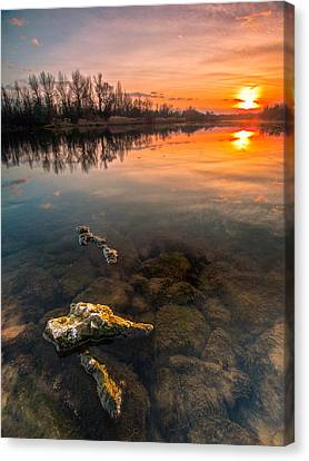 Watching Sunset Canvas Print by Davorin Mance