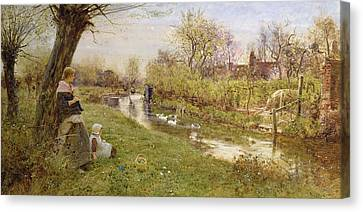 Knitting Canvas Print - Watching The Ducks by Thomas James Lloyd
