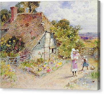 Country Cottage Canvas Print - Watching The Ducks by William Stephen Coleman