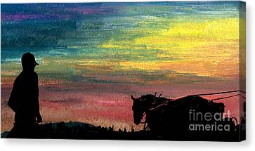 Watching The Horses Canvas Print by R Kyllo