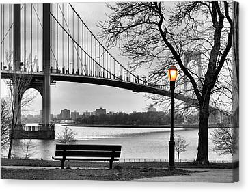 Park Benches Canvas Print - Watching The Nightfall  by JC Findley