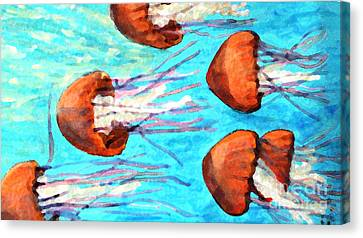 Monteray Bay Canvas Print - Watching The Orange Jelly Fish by Rita Brown