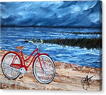 Canvas Print featuring the painting Watching The Storm by Jackie Carpenter