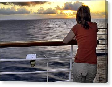 Watching The Sunrise At Sea Canvas Print by Jason Politte