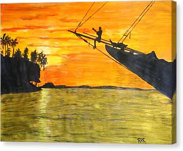 Watching The Sunset Canvas Print by Ray Ratzlaff