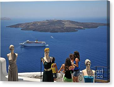 Watching The View In Santorini Island Canvas Print by George Atsametakis