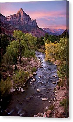 Watchman  Tower Zion Sunrise Canvas Print