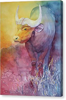Canvas Print featuring the painting Water Buffalo by Nancy Jolley