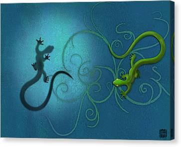 Surrealism Canvas Print - water colour print of twin geckos and swirls Duality by Sassan Filsoof