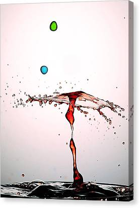 Water Droplets Collision Liquid Art 11 Canvas Print by Paul Ge