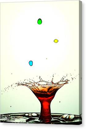 Water Droplets Collision Liquid Art 12 Canvas Print by Paul Ge
