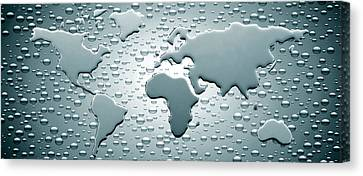 Water Drops Forming Continents Canvas Print by Panoramic Images