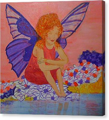Canvas Print featuring the painting Water Fairy by Judi Goodwin