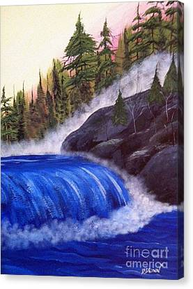 Canvas Print featuring the painting Water Fall By Rocks by Brenda Brown