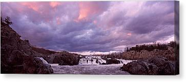Water Falling Into A River, Great Falls Canvas Print by Panoramic Images