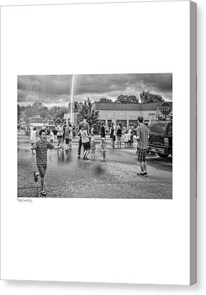 Water Fight Canvas Print by David Coats