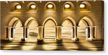 Water Flowing Through Viaduct Canvas Print by Panoramic Images