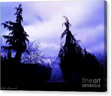 Canvas Print featuring the photograph Water Fountain At Alderwood Business Center In Lynnwood Washington by Eddie Eastwood