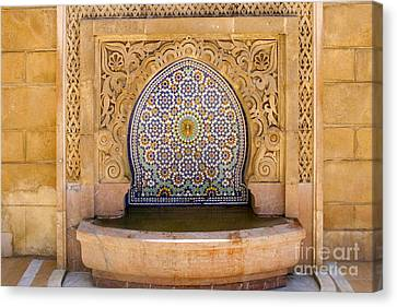 Canvas Print featuring the photograph Water Fountain Mausoleum Of Mohammed V Opposite Hassan Tower Rabat Morocco  by Ralph A  Ledergerber-Photography